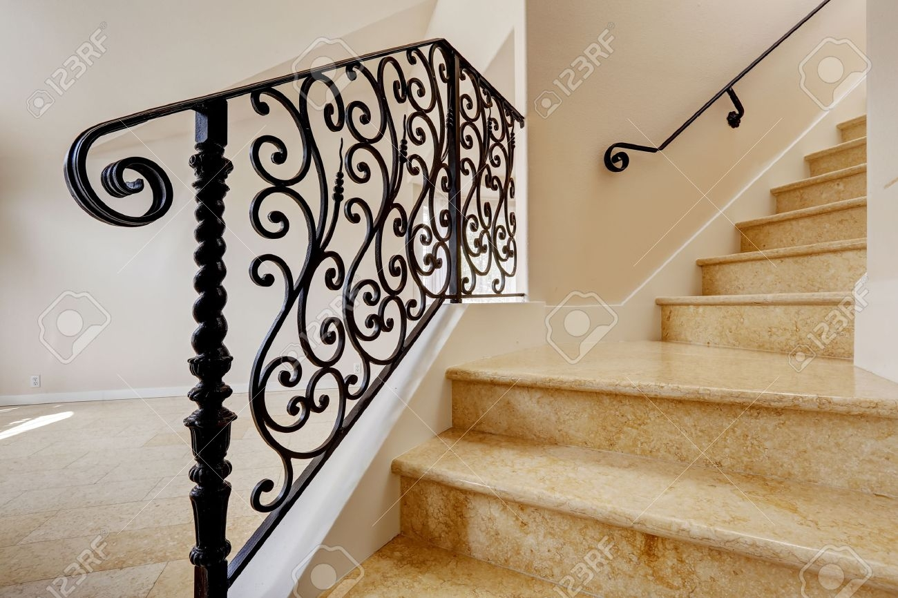 Emtpy House Interior With Shiny Tile Floor Marble Staircase | Wrought Iron Railing Interior | Building Iron | Stair | Gallery | Victorian | Outdoor