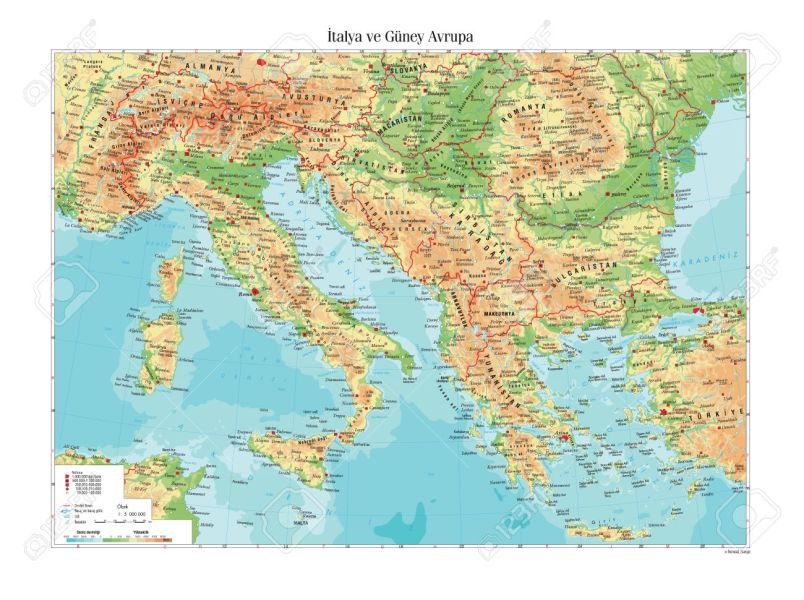 Physical Map Of Italy And South Europe Royalty Free Cliparts     Physical map of Italy and South Europe Stock Vector   46486691
