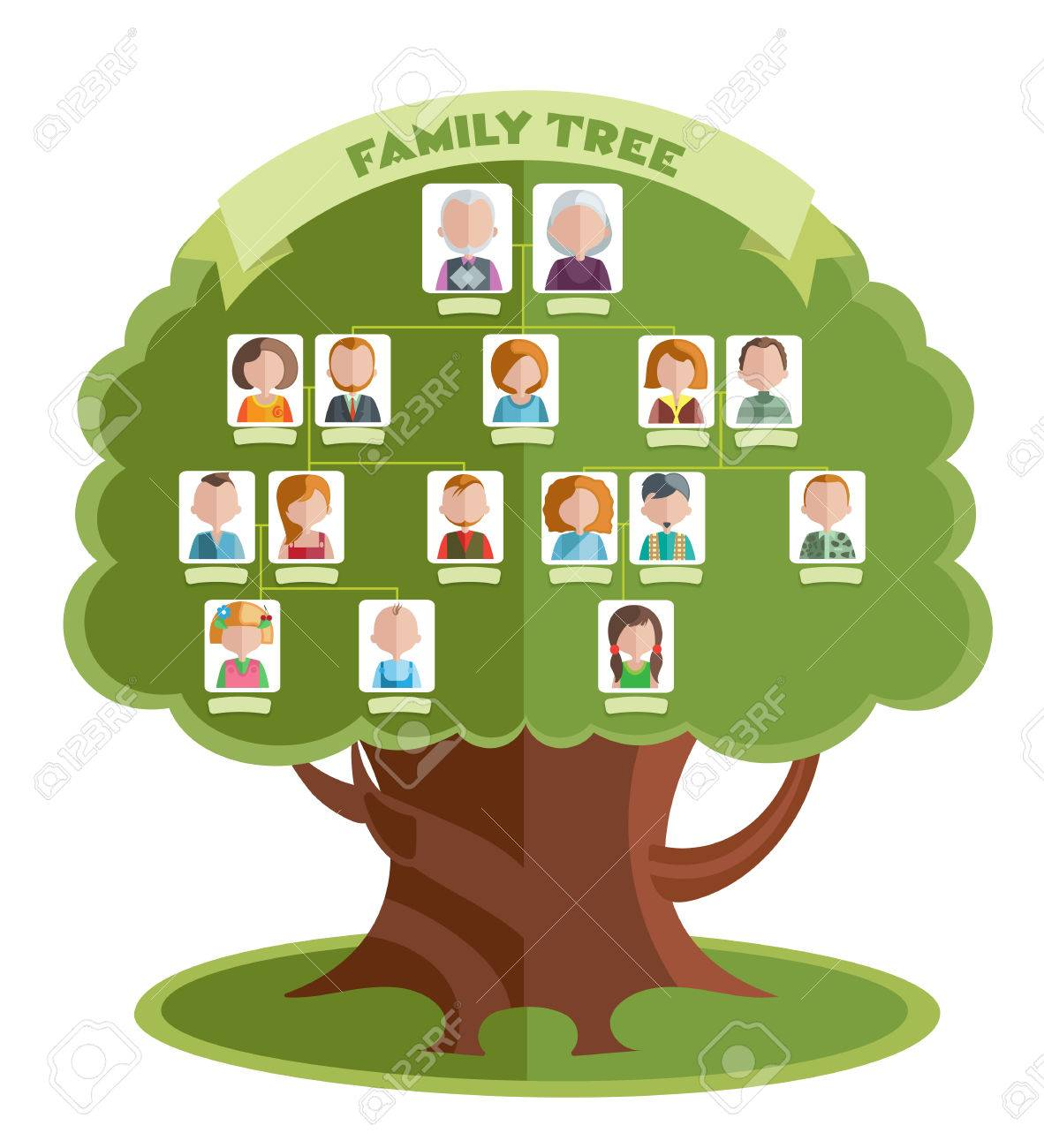 Family Tree Template With Portraits Of Relatives And Place For     Family tree template with portraits of relatives and place for text on  green background illustration Stock