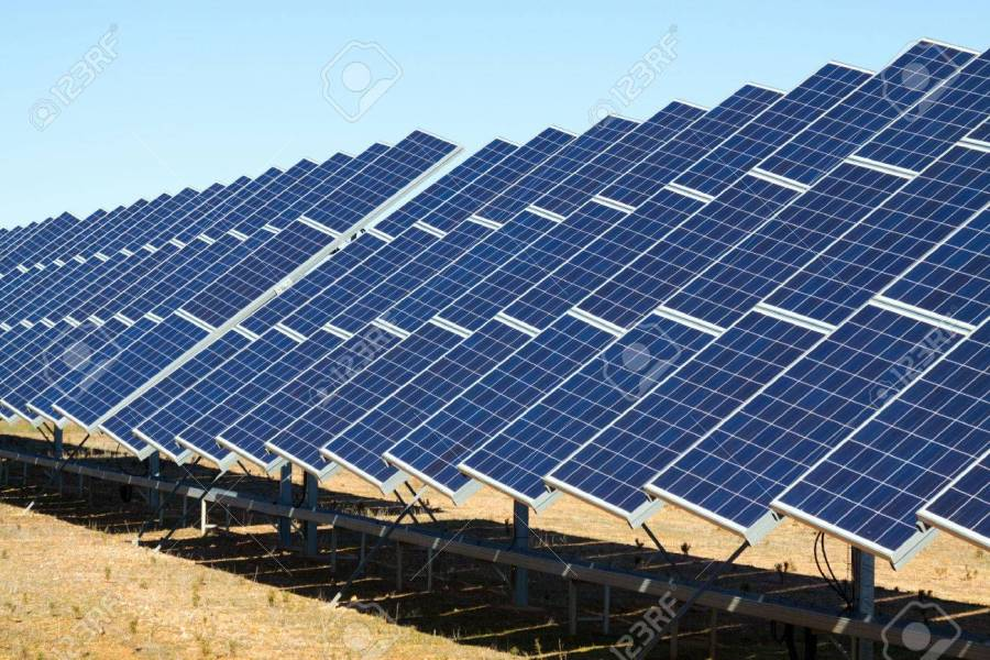 New Technology Of Energy Production  Electric Solar Panel System     New technology of energy production  electric solar panel system Stock  Photo   47626445