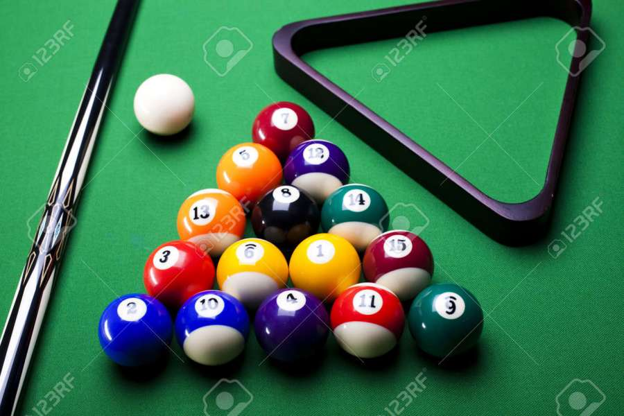 Pool Game Balls Against A Green Stock Photo  Picture And Royalty     Pool game balls against a green Stock Photo   8788906
