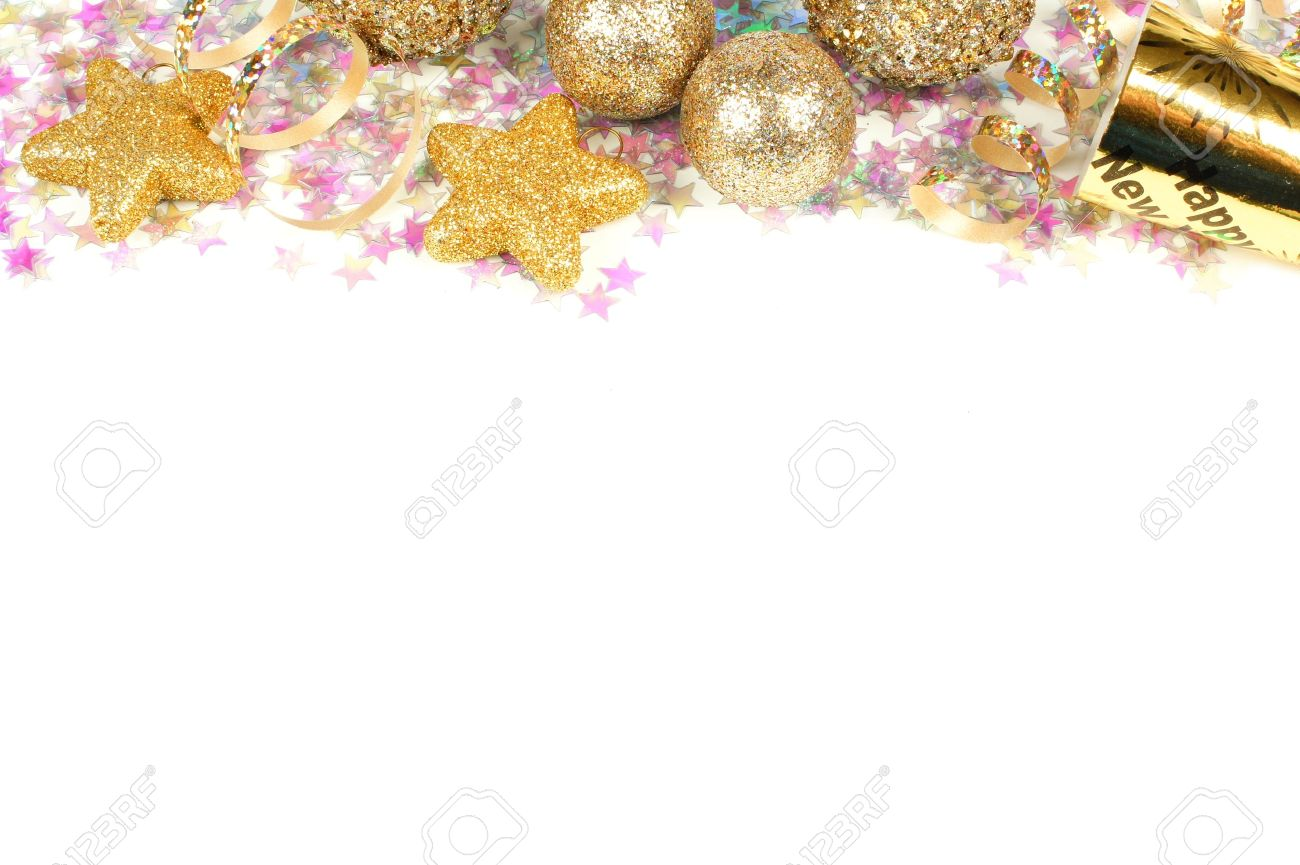 New Years Eve Border Of Confetti And Golden Decorations On A   Stock     New Years Eve border of confetti and golden decorations on a white  background Stock Photo