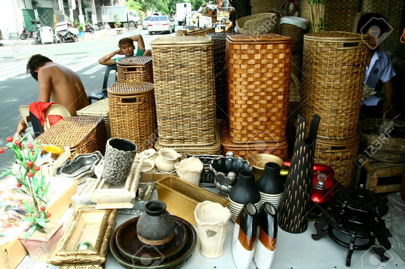 Wooden Home Decor And Baskets Sold At Stores In Dapitan Arcade     Stock Photo   Wooden home decor and baskets sold at stores in dapitan  arcade  manila  philippines