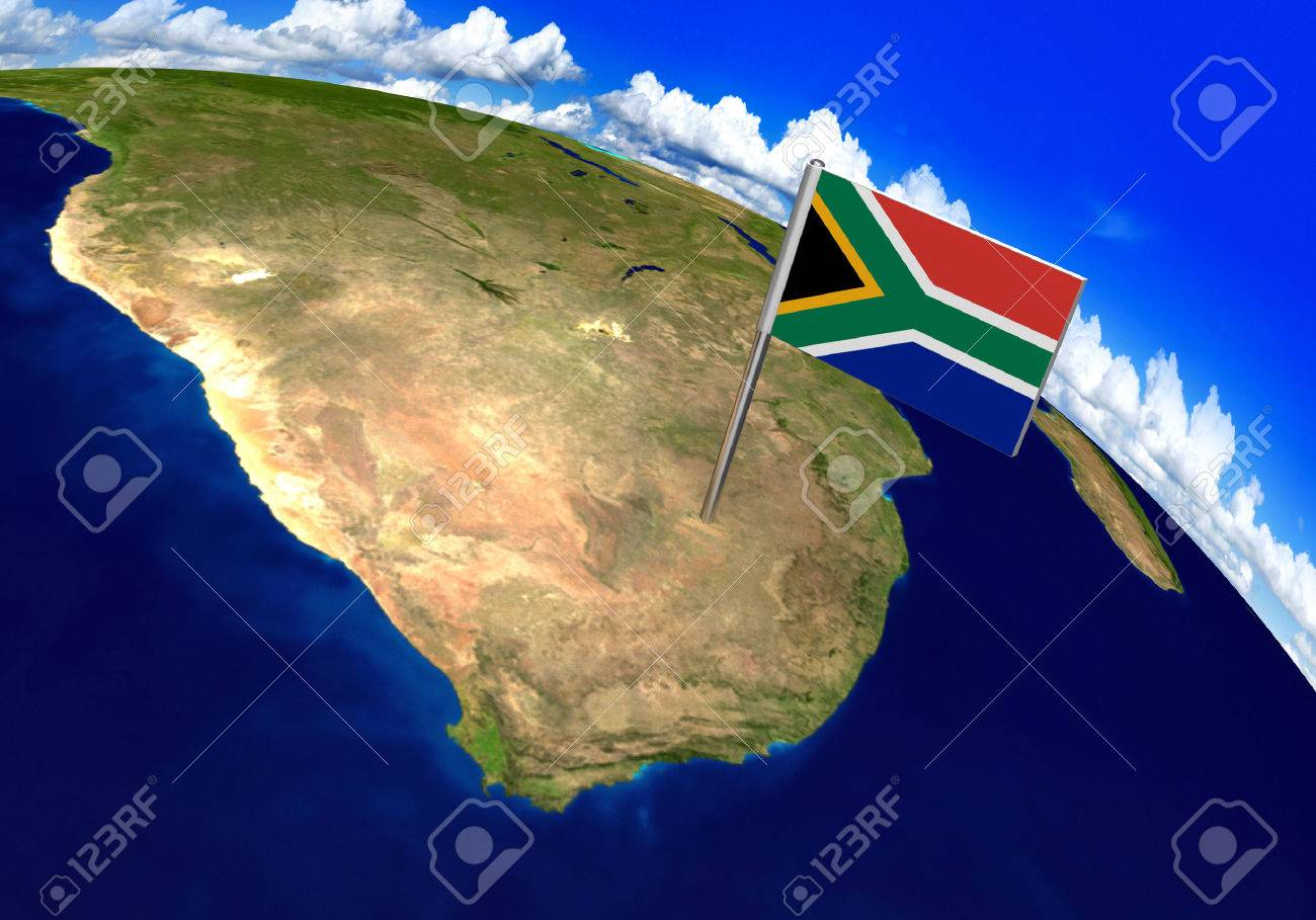 Flag Marker Over Country Of South Africa On World Map 3D Rendering     Flag marker over country of South Africa on world map 3D rendering  parts  of this