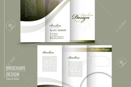 Graceful Tri fold Brochure Template Design In Elegant Golden     graceful tri fold brochure template design in elegant golden color Stock  Vector   37966479