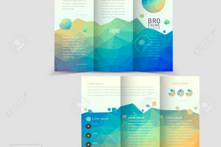 Lovely Tri fold Brochure Template Design With Colorful Polygonal     lovely tri fold brochure template design with colorful polygonal background  Stock Vector   37966912