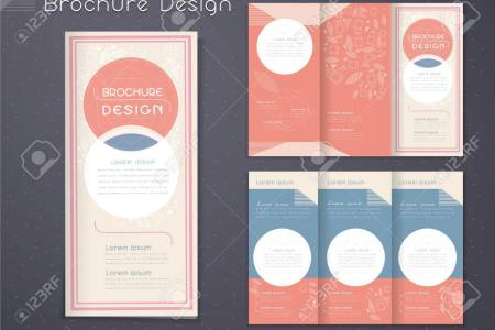 Graceful Tri fold Brochure Template Design With Circular Elements     graceful tri fold brochure template design with circular elements in pink  and white Stock Vector