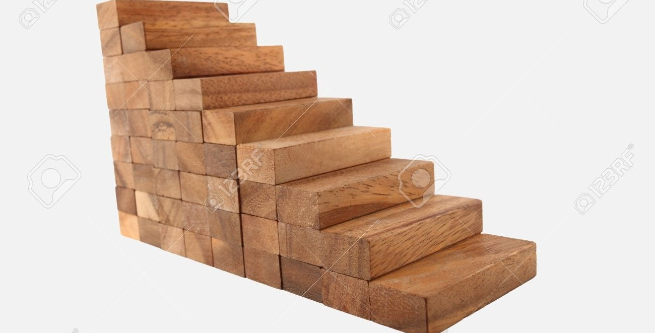 Wood Stair Steps To Success Isolated On White Stock Photo Picture   White Stairs With Wood Steps   Light Wood   White Riser   Outdoor   Dark   Traditional