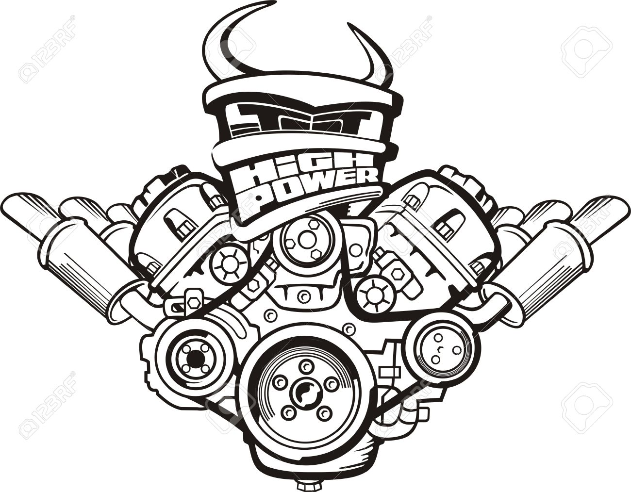 Drawing high power car engine sign royalty free cliparts vectors