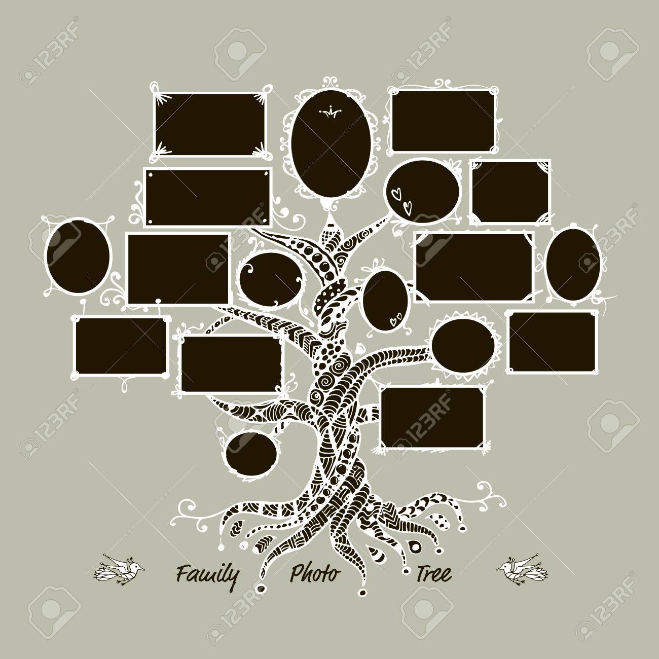Family Tree Template With Picture Frames  Insert Your Photos     Family tree template with picture frames  Insert your photos  Vector  illustration Stock Vector