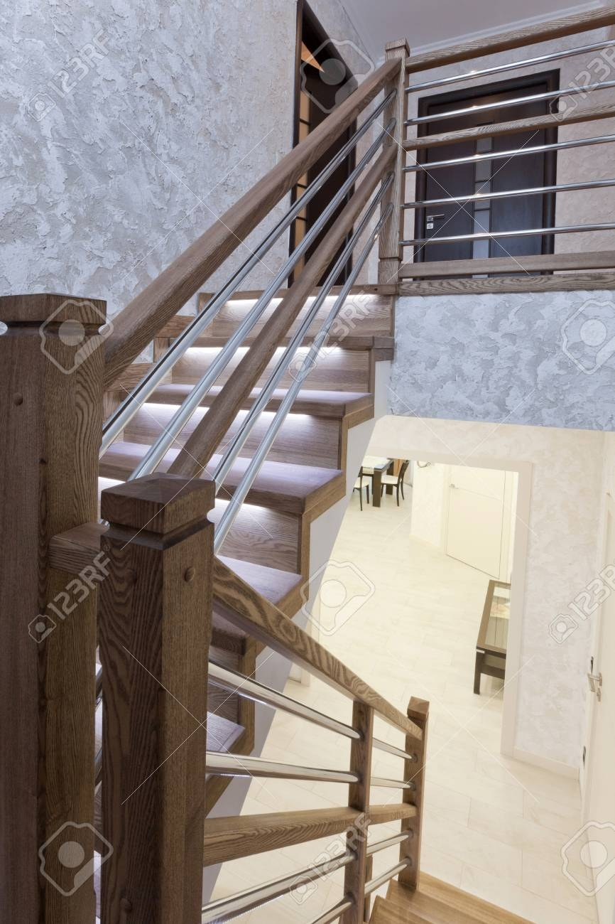 Staircase Between The First And Second Floor Stock Photo Picture   Stairs To Second Floor Design   Bathroom Next   Space Saving   Square Shaped   Kitchen   Stairway