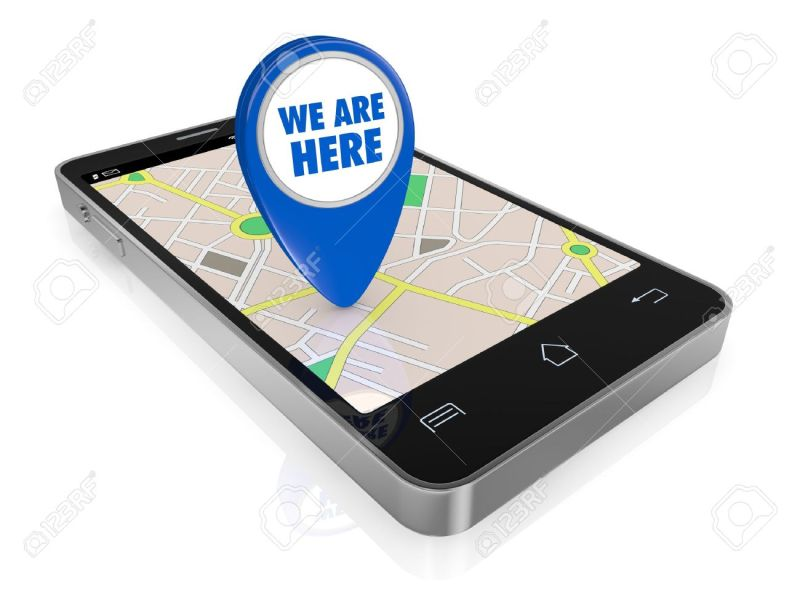 One Smartphone With A Gps Map And A Pointer With Text  We Are     one smartphone with a gps map and a pointer with text  we are here