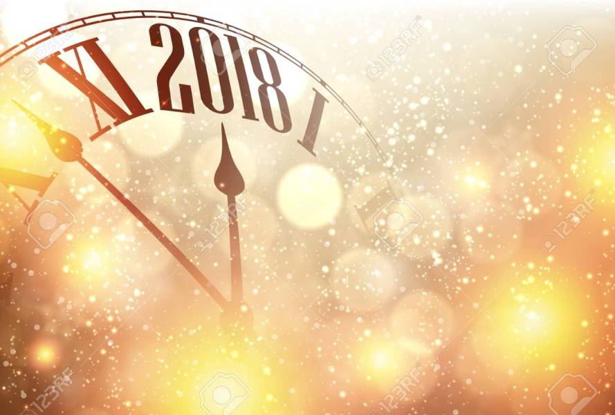 Golden 2018 New Year Background With Clock  Vector Illustration     Golden 2018 New Year background with clock  Vector illustration  Stock  Vector   87748531