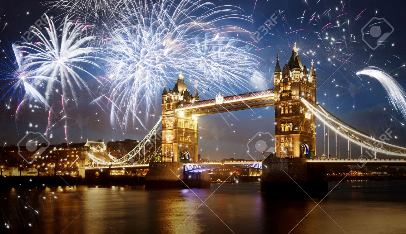 Tower Bridge With Firework  Celebration Of The New Year In London     Stock Photo   Tower bridge with firework  celebration of the New Year in  London  UK