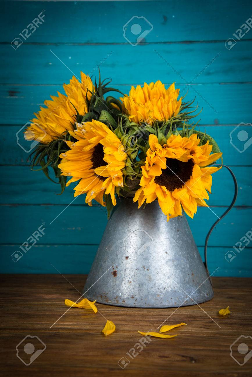 Fresh Sunflower Flowers In Rustic Antique Vase On Wooden Table     Fresh sunflower flowers in rustic antique vase on wooden table and rustic  background Stock Photo