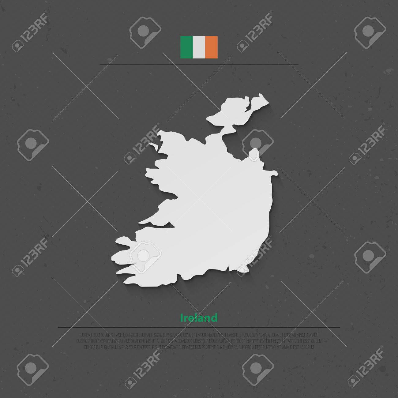 Republic Of Ireland Isolated Map And Official Flag Icons  Vector     Republic of Ireland isolated map and official flag icons  vector Irish  political map 3d illustration