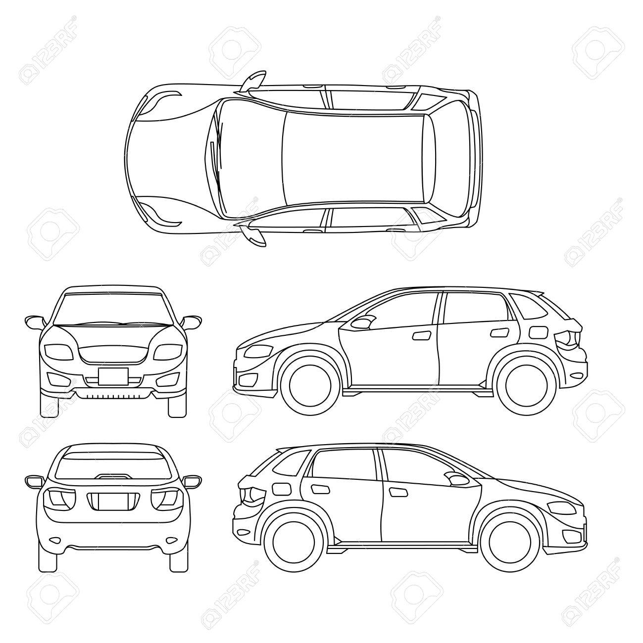 Offroad suv auto outline vector vehicle car model suv
