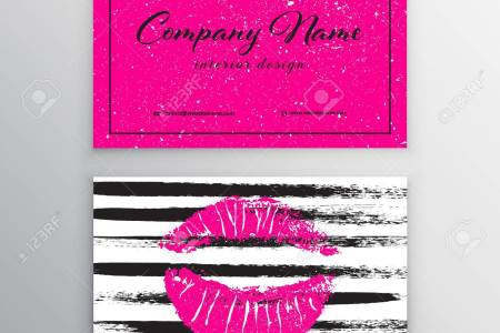 Makeup Artist Business Card  Business Cards Template With Pink     Makeup artist business card  Business cards template with pink lips print   Design Templates for