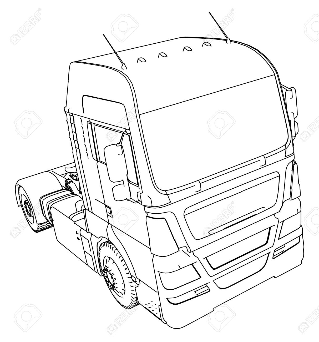 Wire frame big truck vector isolated on white background tracing