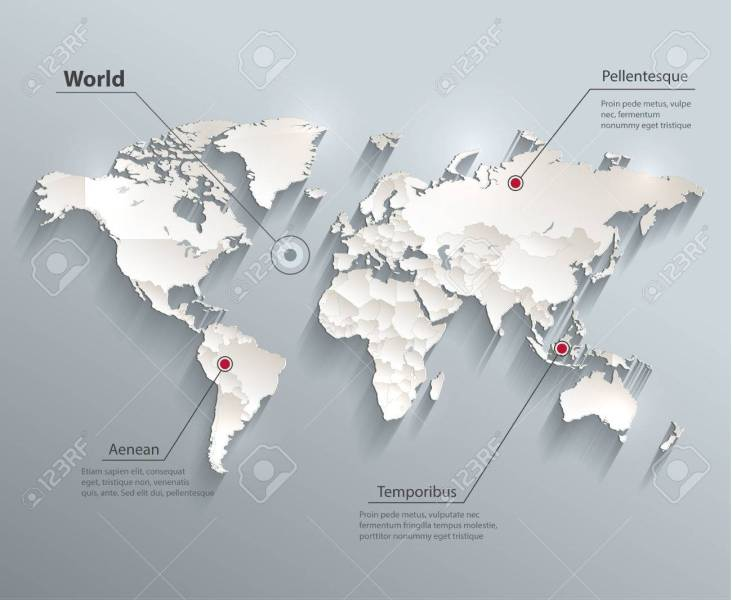 World Political Map 3D Royalty Free Cliparts  Vectors  And Stock     Vector   World political map 3D