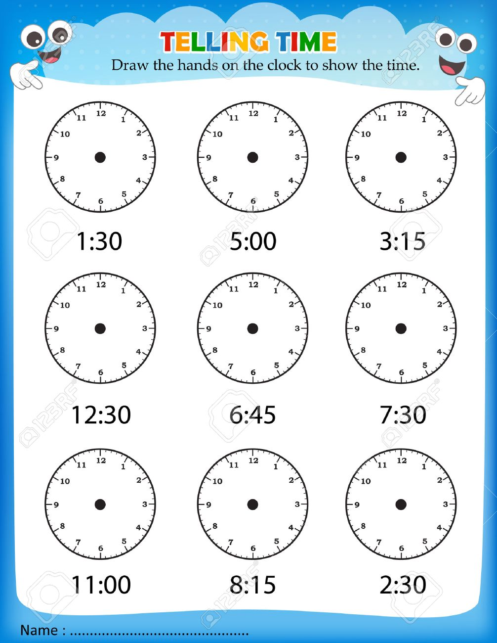 Tell G Time W Ksheet Pre School Kids To Ident Y Time