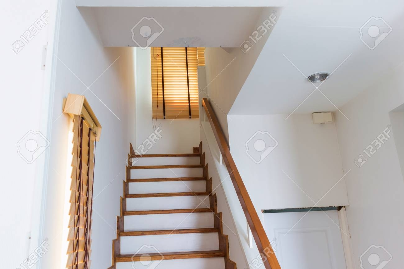 Wood Staircase Connect First Floor And Second Floor Stock Photo   Stairs To Second Floor Design   Bathroom Next   Space Saving   Square Shaped   Kitchen   Stairway