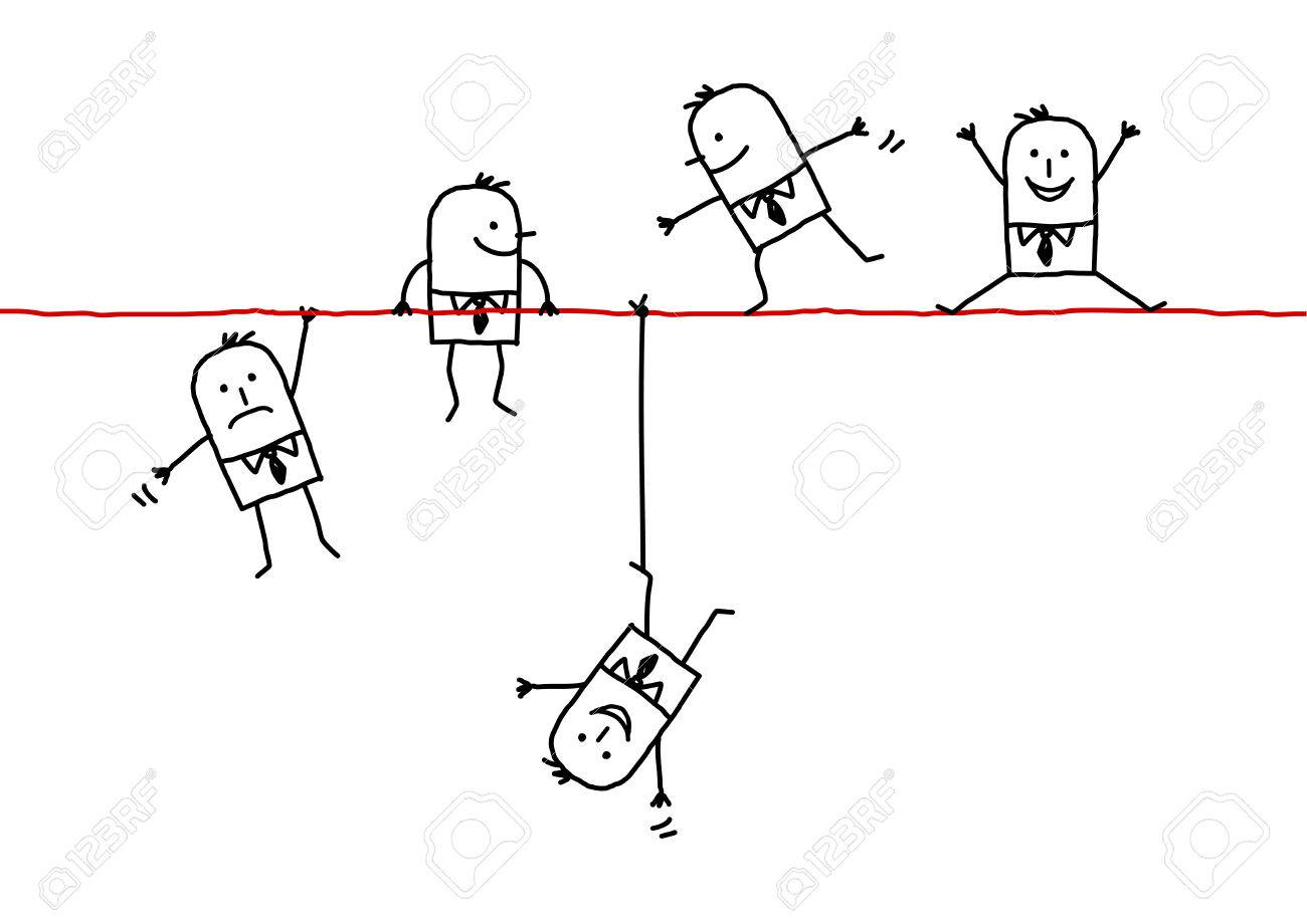 Hand drawn cartoon characters businessmen on a wire stock photo