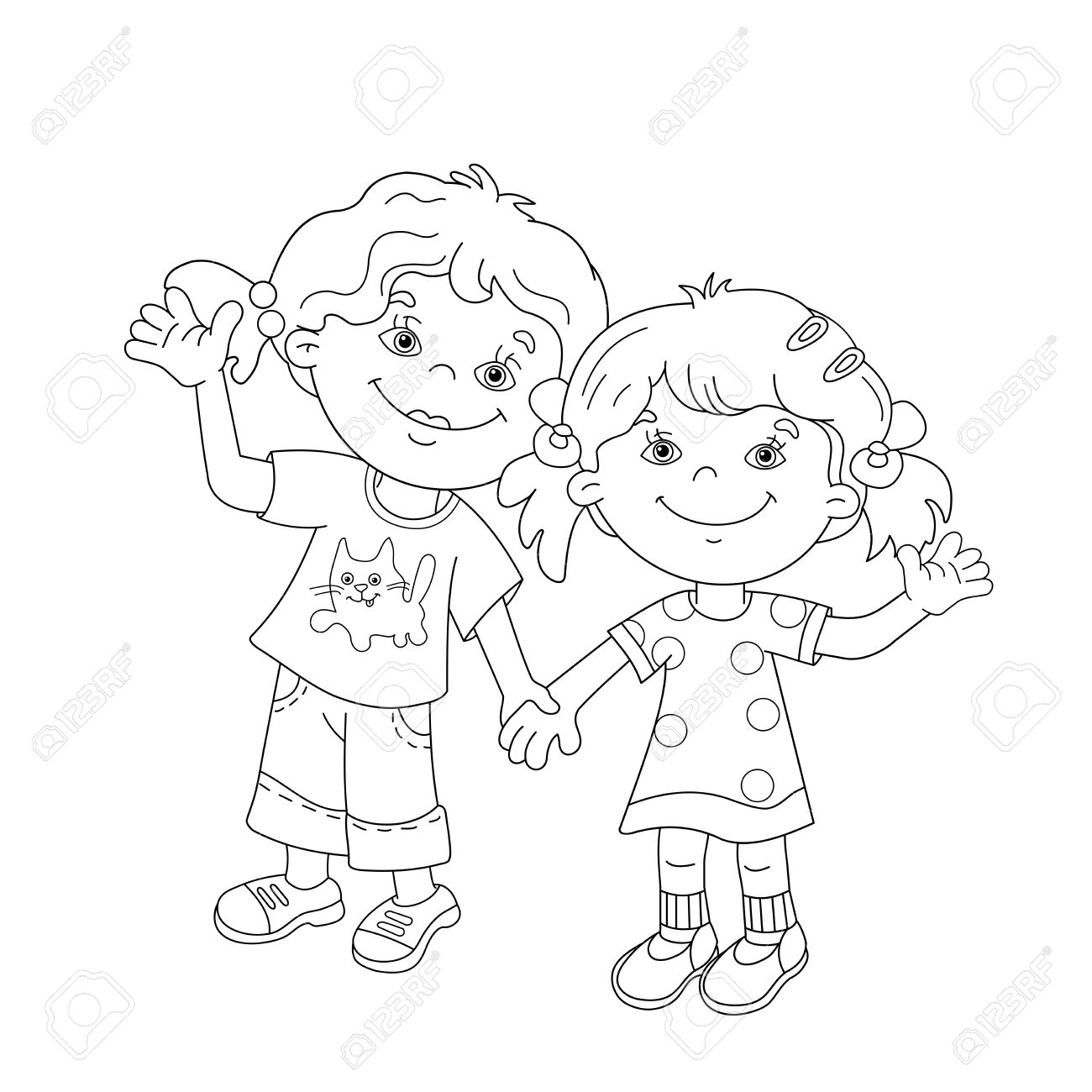 Coloring Page Outline Of Cartoon Girls Holding Hands Coloring