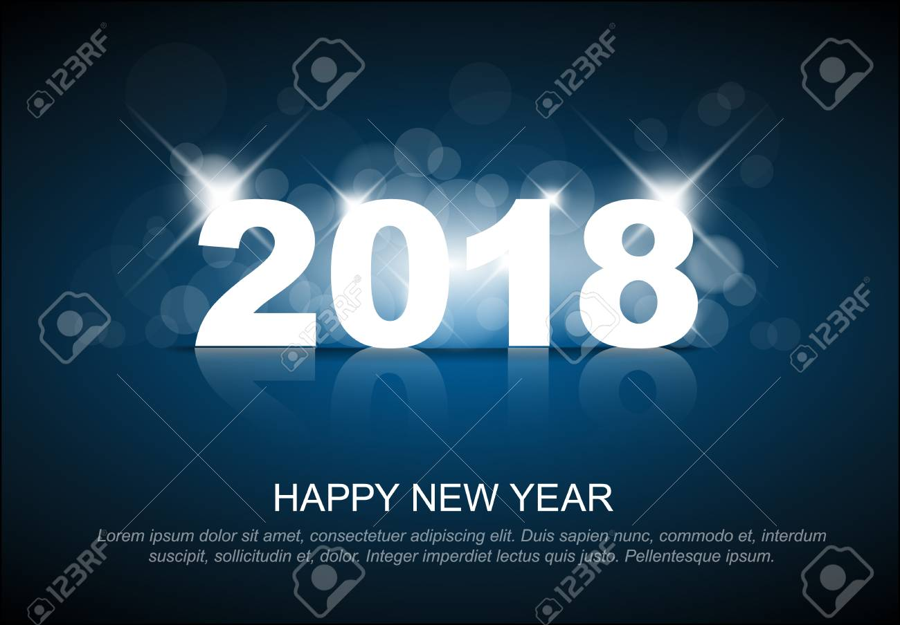 New Year 2018 Card Template With Back Light And Place For Your     New Year 2018 card template with back light and place for your text Stock  Vector
