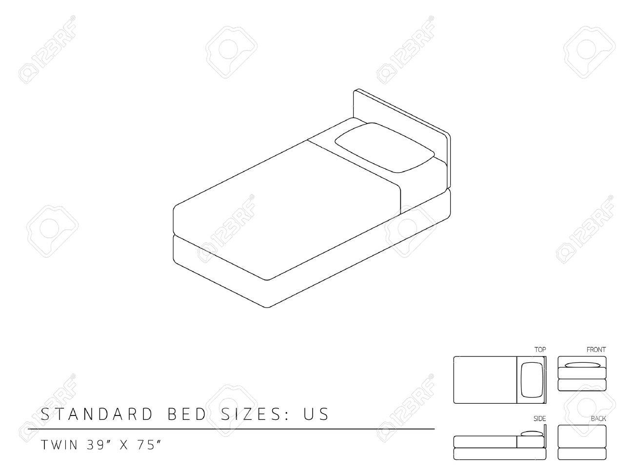 Twin bed front view