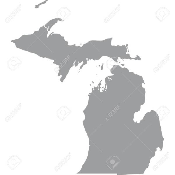 Map Of The U S  State Of Michigan Royalty Free Cliparts  Vectors     map of the U S  state of Michigan Stock Vector   58163531