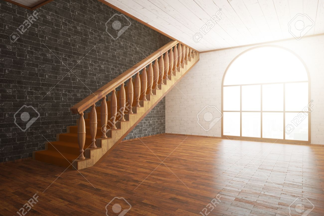 Side View Of Luxurious Interior With Wooden Floor And Staircase | Staircase Side Window Designs | Window Furniture | Two Story | Angled Staircase | Bedroom | Corner