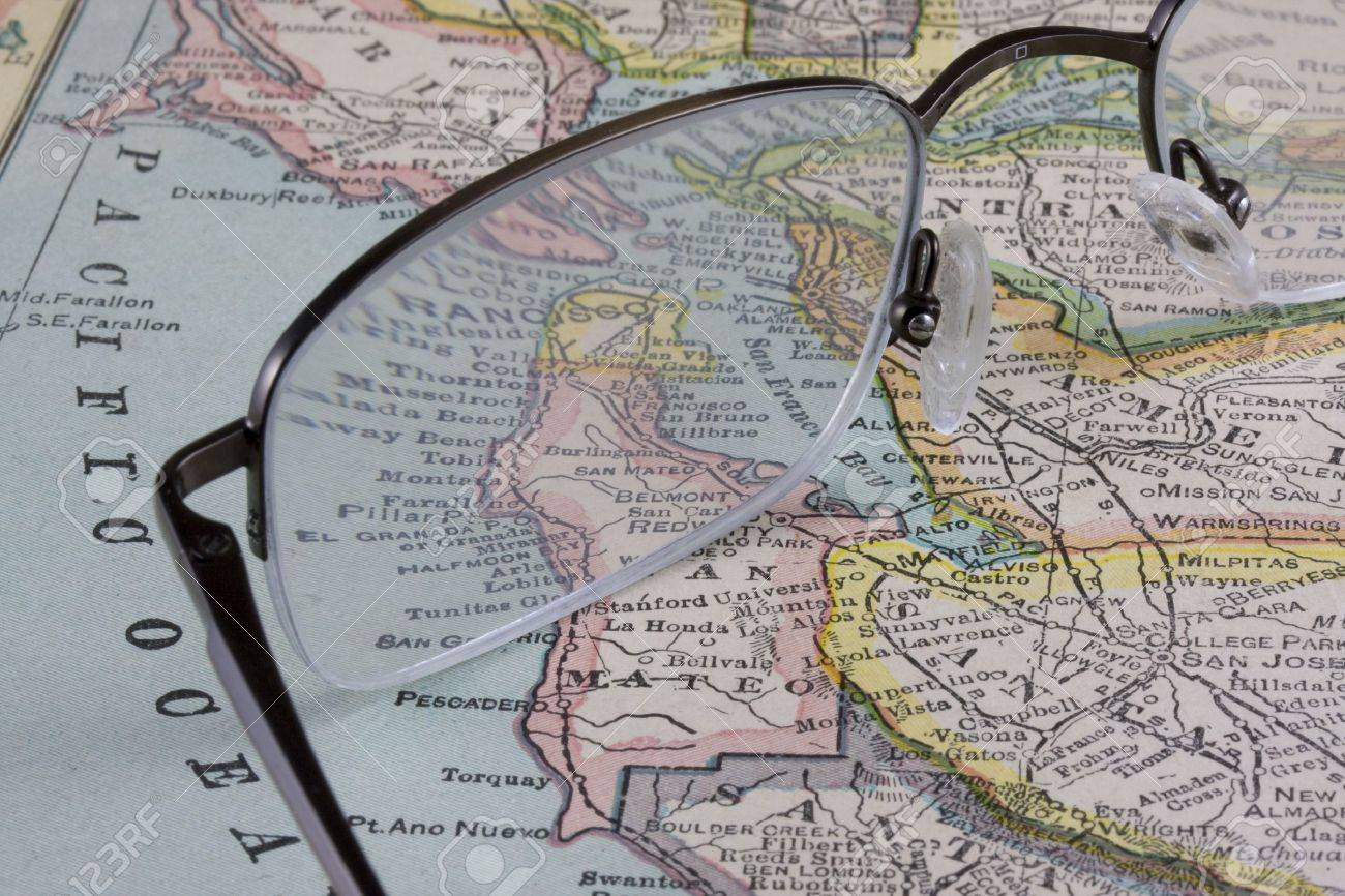 Reading Glasses Against San Francisco Bay Area Vintage Map  New     Reading glasses against San Francisco Bay area vintage map  New  International Atlas of the World