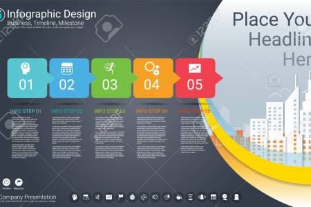 Business Infographics Template  Milestone Timeline Or Road Map     Business infographics template  Milestone timeline or Road map with Process  flowchart 5 options  Strategic