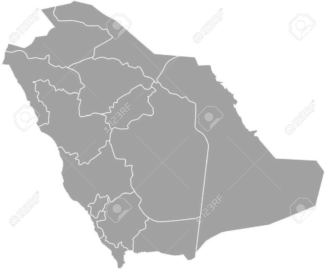Saudi Arabia Map Outline Vector With Borders Of Provinces Or     Saudi Arabia map outline vector with borders of provinces or states Stock  Vector   51018456