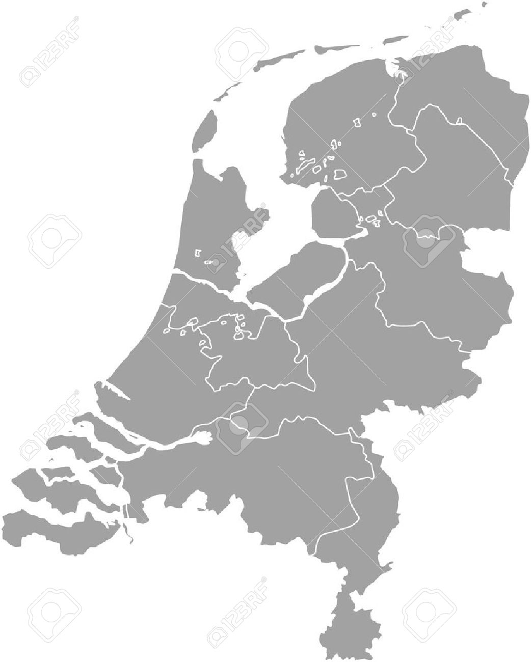 Netherlands Map Outline Vector With Borders Of Provinces Or States     Netherlands map outline vector with borders of provinces or states Stock  Vector   51018511