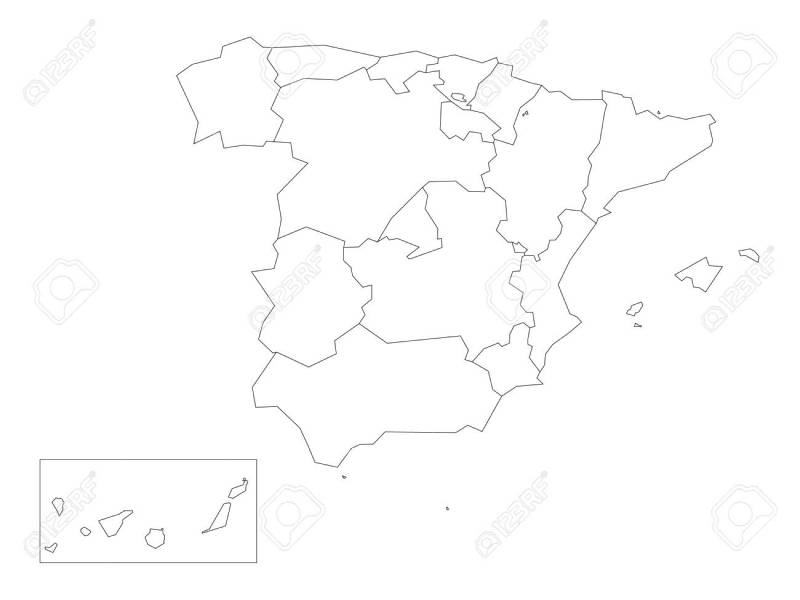 Map of Spain devided to 17 administrative autonomous communities    Map of Spain devided to 17 administrative autonomous communities  Simple  thin black outline on white