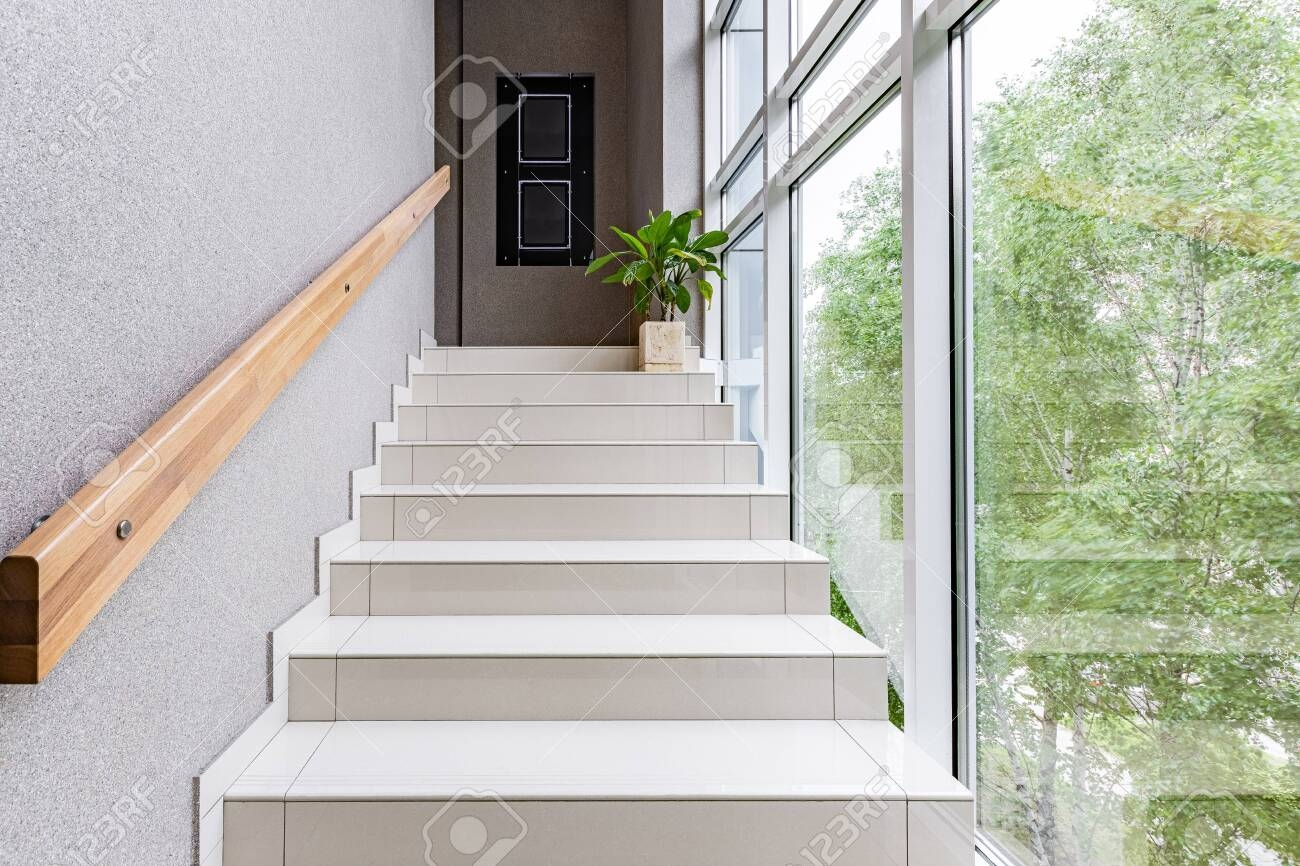 Stylish With Green Staircase Window On White Background | Modern Staircase Window Design | Architecture | Small House Stair | Section Window | Elegant | Wooden