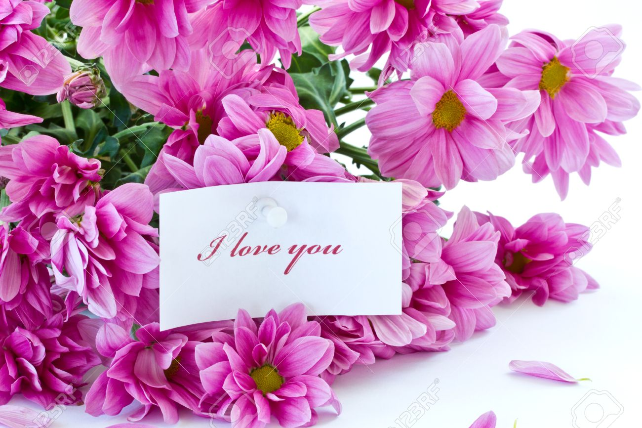 Says  I Love You  On A Background Of Beautiful Flowers Stock Photo     says