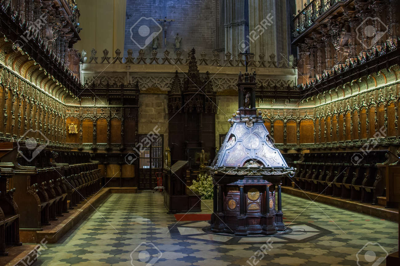Seville  Andalusia  Spain   The Interior Of The Seville Cathedral     Seville  Andalusia  Spain   The interior of the Seville Cathedral of Saint  Mary and