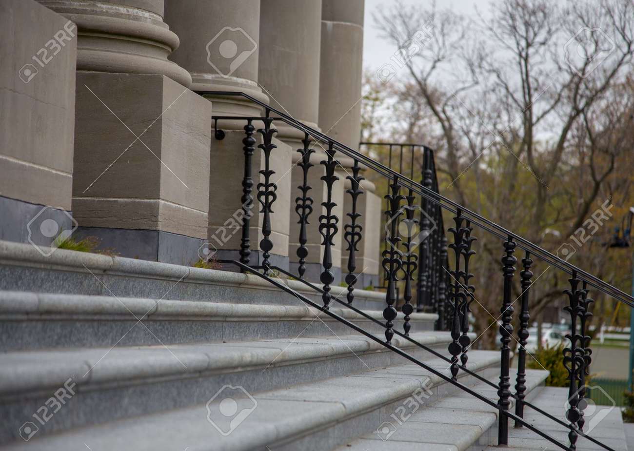 Steel Railing And Steps Stock Photo Picture And Royalty Free   Steel Railing For Steps   Balustrade   Simple   Fabrication   Carbon Steel   Wooden