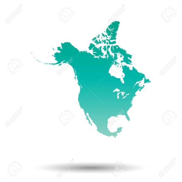 North America Map  Colorful Turquoise Vector Illustration On     North America map  Colorful turquoise vector illustration on white isolated  background  Stock Vector