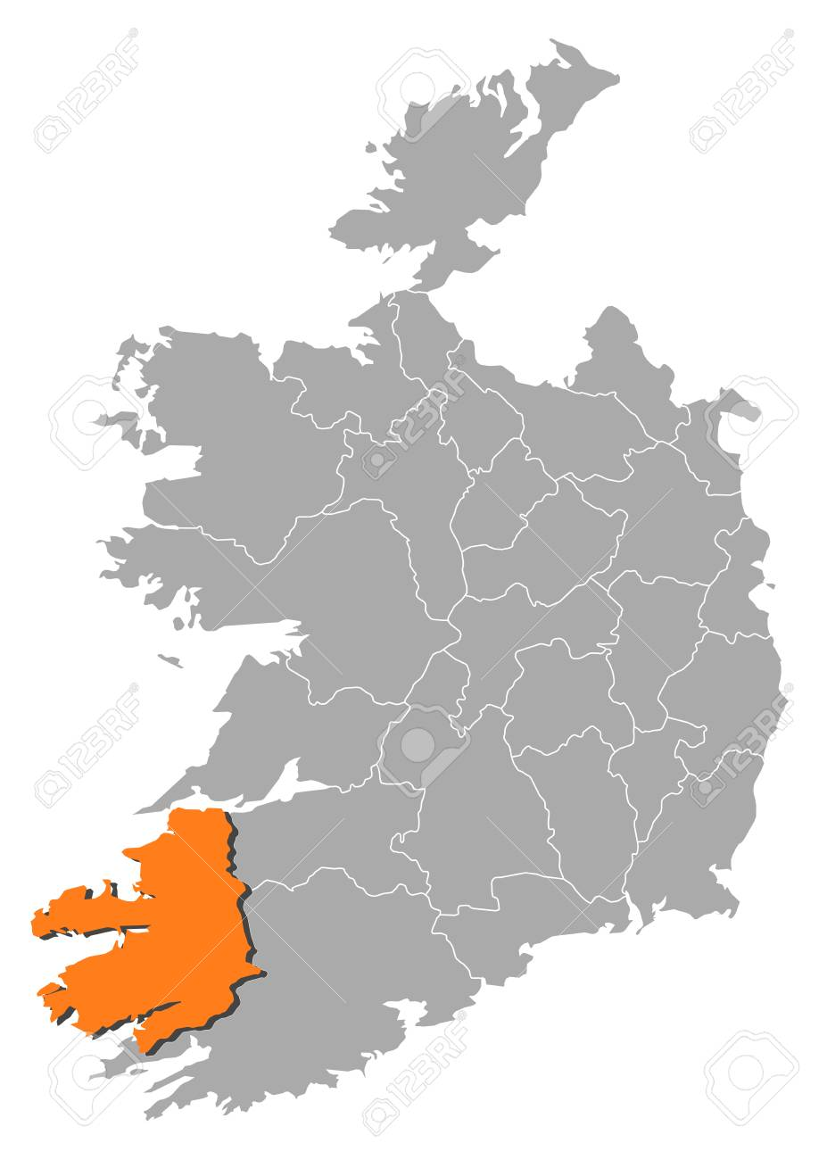 Map Of Ireland With The Provinces  Kerry Is Highlighted By Orange     Map of Ireland with the provinces  Kerry is highlighted by orange  Stock  Vector