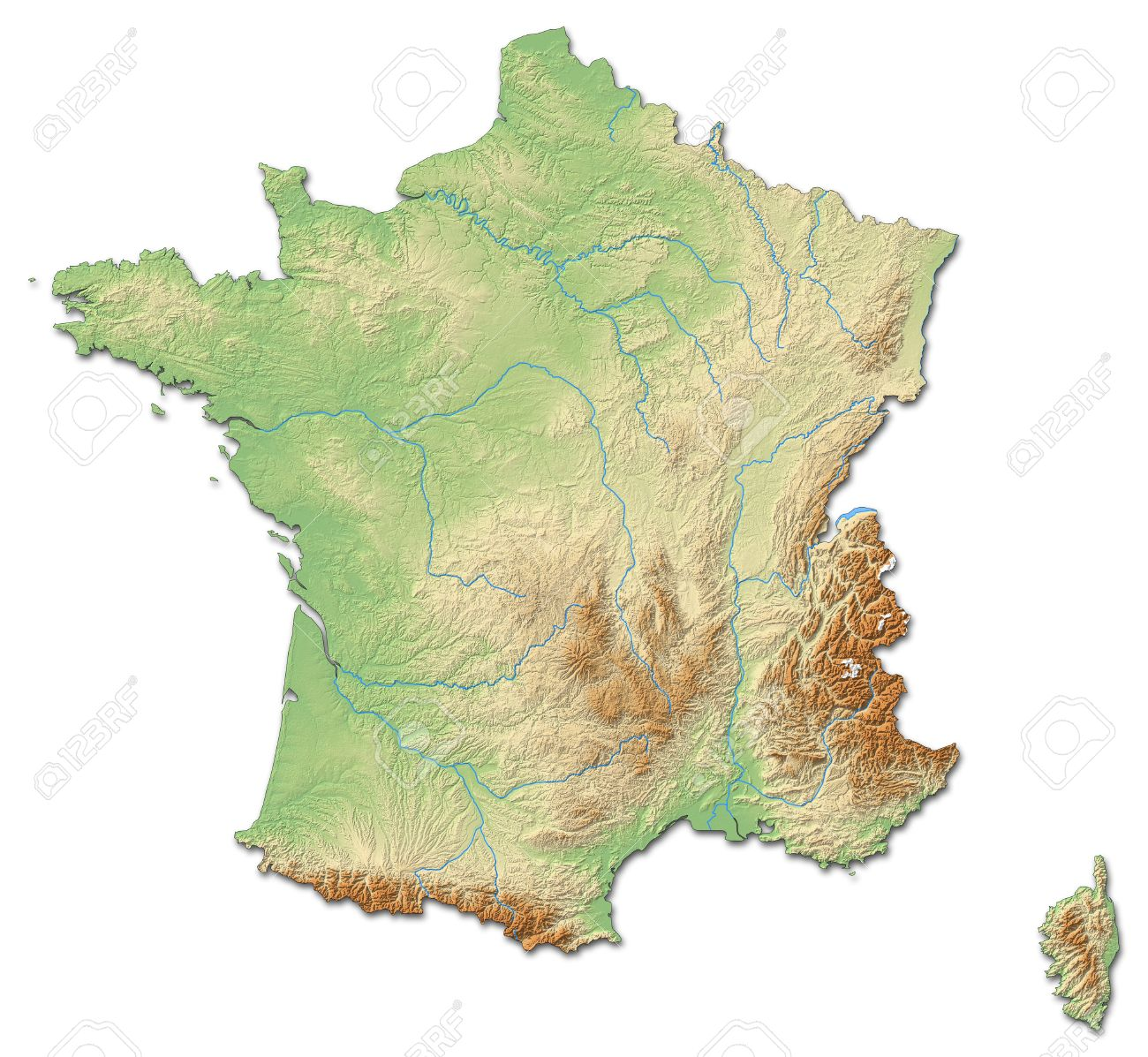Relief Map Of France With Shaded Relief  Stock Photo  Picture And     Relief map of France with shaded relief  Stock Photo   59583099
