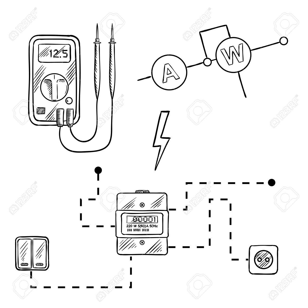 49394540 digital voltmeter electricity meter with socket and switches electrical circuit diagram sketch icons stock vector