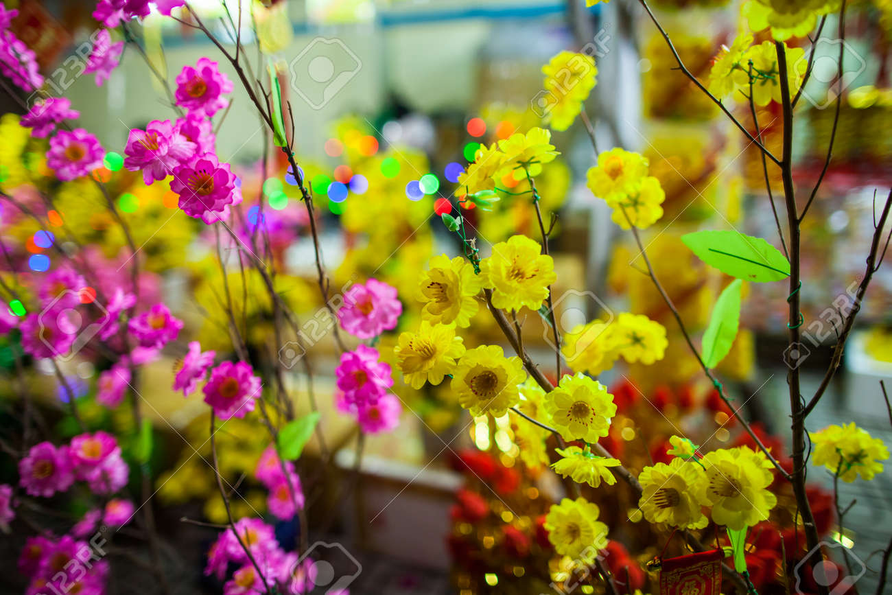 Vietnamese Traditional New Year Flowers With Bokeh Background     Stock Photo   vietnamese traditional new year flowers with bokeh background  wallpaper
