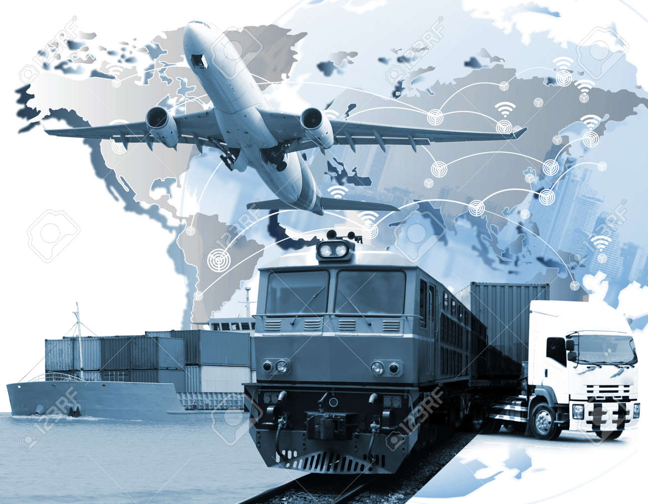 Logistics Transportation   Global Logistics Network Web Site   Stock     logistics transportation   Global logistics network Web site concept  Air  cargo trucking rail transportation maritime