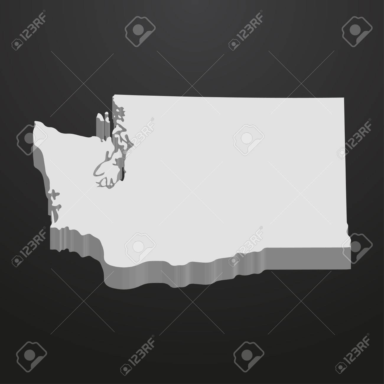 Washington State Map In Gray On A Black Background 3d Royalty Free     Vector   Washington State map in gray on a black background 3d