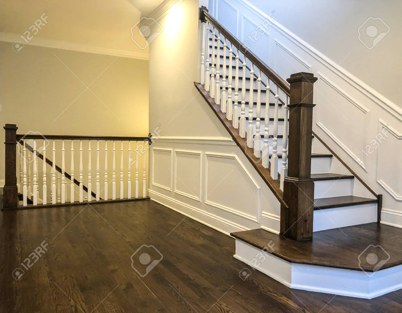 Stairs Of The Luxury House With White Walls Wood Panels In White   Dark Wood And White Stairs   Light   Contrast   Brick Wall Dark Stain   Flooring   Carpet