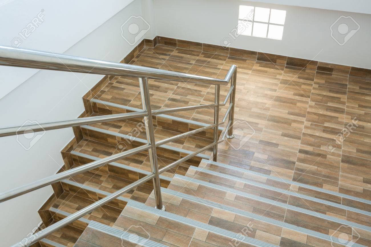 Staircase In Residential House With Stainless Steel Banister | Wood And Steel Handrail | Outdoor | Column | Stainless Steel | Balustrade | Ultra Modern Steel